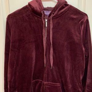 GLORIA VANDERBILT Velour zipped up hoodie